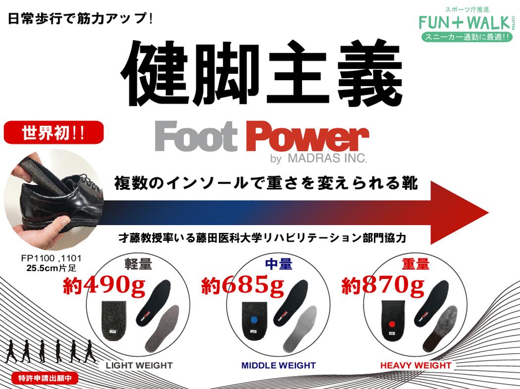 フットパワー 健脚主義 日常歩行で筋力アップ 重さを変えられる靴